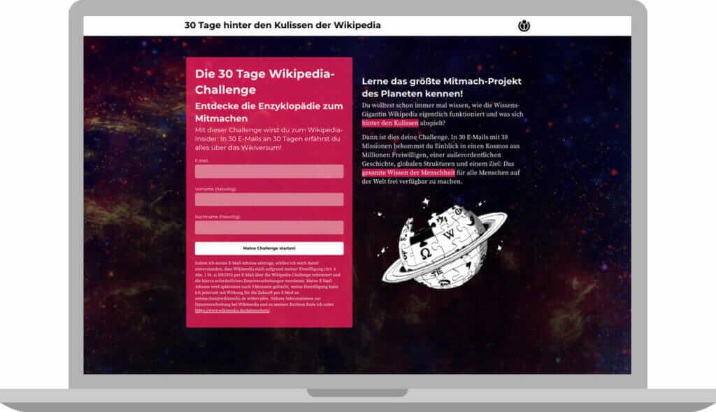 Desktop Darstellung der Seite Wikiversum