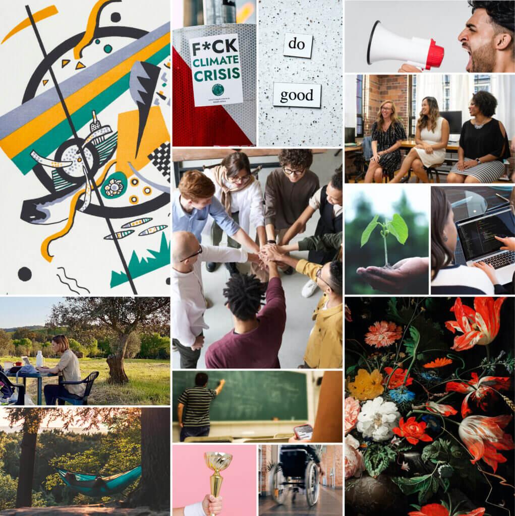 """Ein Bild-Moasik unserer Visionsreise ist hier zu sehen. Ihr seht abstrakte Kunstwerke, Arbeit am Laptop im Grünen, Menschen, die zusammenhalten, Teamwork am Schreibtisch und ein Bild mit der Aufschrift """"Do good!"""". Enjoy! ;)"""