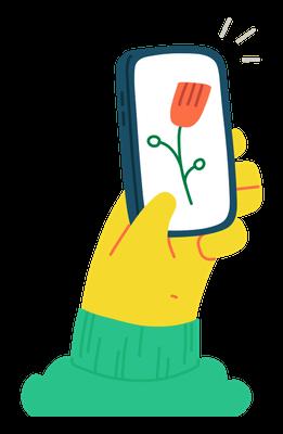 Gelbe Comic-Hand, die ein Handy mit Blume auf dem Bildschirm hoch hält. Ein Herz für grüne Ressourcen in der digitalen Welt. :)
