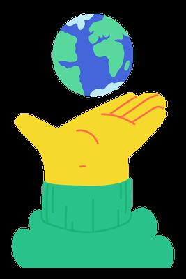 Gelbe Comic-Hand, die die Erdkugel hoch hält. Ein Herz für nachhaltiges Webdesign.