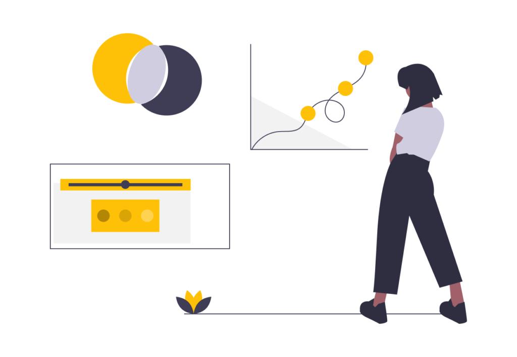 Frau steht vor Graphen und Tabellen – illustriert.